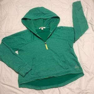 DKNY Green Cropped Hoodie with Pockets